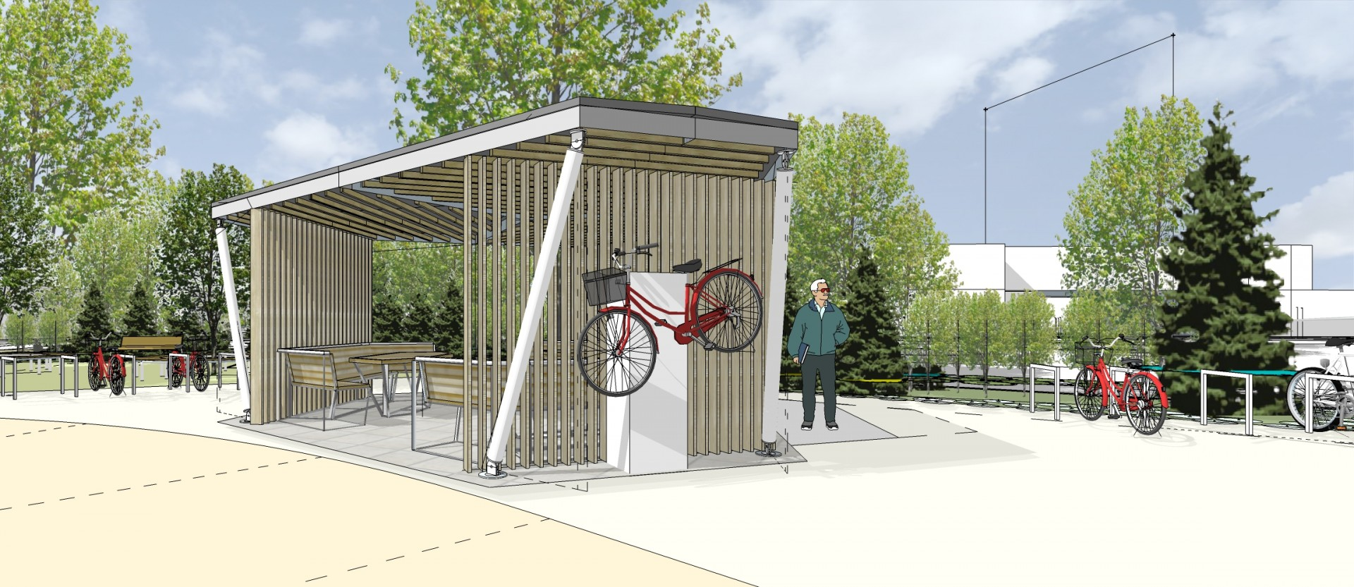 The shed is set up with bicycle repairing station, places to sit and vending machines.